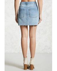 Forever 21 - Blue Raw-cut Denim Mini Skirt - Lyst