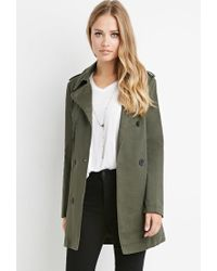 Forever 21 - Green Double-breasted Trench Coat - Lyst