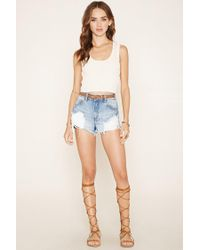 Forever 21 - Natural Ribbed Knit Crop Top - Lyst