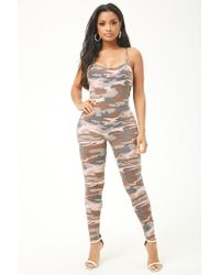 57744fb4ccbd Forever 21 Women s Camo French Terry Jumpsuit in Pink - Lyst