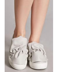 Forever 21 - Gray J Slides Leather Bow Sneakers - Lyst