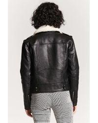 Forever 21 Black Faux Shearling Flight Jacket