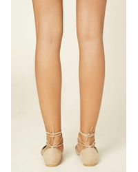 Forever 21 | Natural Faux Suede Lace-up Flats | Lyst