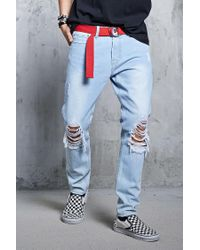 Forever 21 - Blue 's Distressed Slim-fit Jeans for Men - Lyst