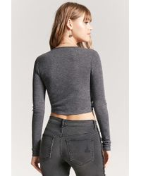 Forever 21 | Gray Self-tie Heathered Top | Lyst