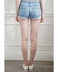 Forever 21 - Blue Cuffed Denim Shorts - Lyst