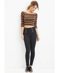 Forever 21 - Blue High-waisted Skinny Sailor Jeans - Lyst