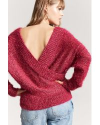 Forever 21 - Red Fuzzy Knit Surplice Jumper - Lyst