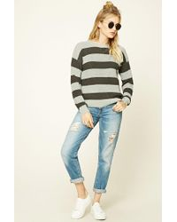 Forever 21 - Gray Contemporary Striped Sweater - Lyst