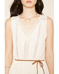 Forever 21 - Multicolor Belted Floral Lace Dress - Lyst