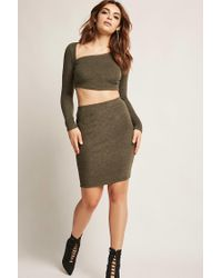 Forever 21 - Green Marled Asymmetrical Crop Top - Lyst