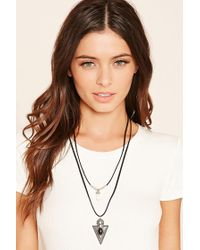 Forever 21 | Black Arrow Pendant Layered Necklace | Lyst