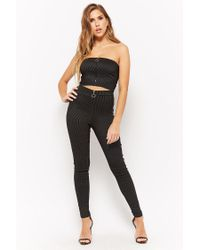 Forever 21 - Black Pinstriped Tube Top - Lyst