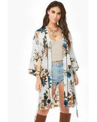 Forever 21 Multicolor Floral Longline Kimono