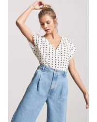 Forever 21 - Multicolor Crepe Abstract Polka Dot Top - Lyst