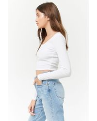 Forever 21 - White Ribbed Crop Top - Lyst