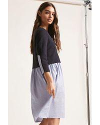 Forever 21 Blue Woven Stripe Dress , Navy