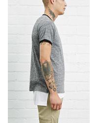 Forever 21 | Gray Marled Knit Ringer Tee for Men | Lyst