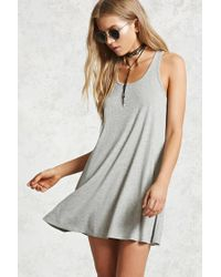 Forever 21 - Gray Ribbed Swing Dress - Lyst