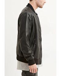 Forever 21 - Black Faux Leather Bomber Jacket for Men - Lyst