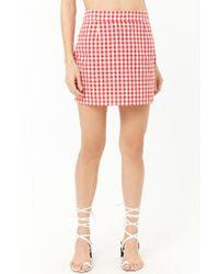 Forever 21 Red Women's Gingham Mini Skirt