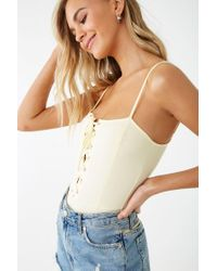 Forever 21 Lace-up Cami Princess Bodysuit , Light Yellow