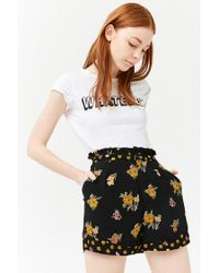 Forever 21 - Black Women's High-rise Floral Print Shorts - Lyst