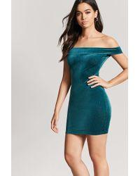 Forever 21 - Green Metallic Velvet Off-the-shoulder Dress - Lyst