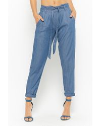 Forever 21 Blue Chambray Paperbag Pants