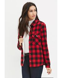 Forever 21 | Red Faux Shearling Plaid Jacket | Lyst