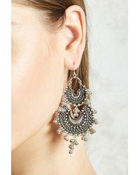 Forever 21 Metallic Beaded Chandelier Earrings