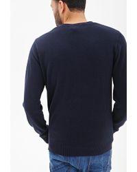 Forever 21 - Blue V-neck Knit Sweater for Men - Lyst