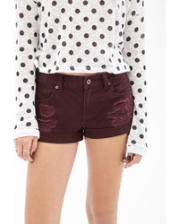 Forever 21 - Purple Cuffed Distressed Denim Shorts - Lyst