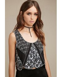 Forever 21 - Black Raga Floral Beaded Crop Top - Lyst