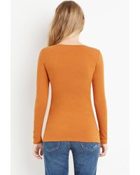 Forever 21 - Orange V-neck Top - Lyst