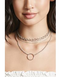 Forever 21 - Metallic O-ring Layered Necklace - Lyst