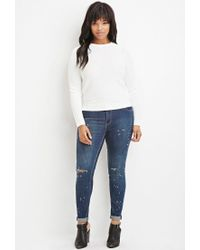 Forever 21 - White Plus Size Ribbed-panel Sweater - Lyst