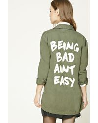 Forever 21 Green Women's Being Bad Aint Easy Jacket
