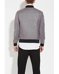 Forever 21 - Gray Zip-up Bomber Jacket for Men - Lyst
