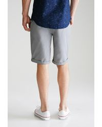 Forever 21 Gray Cuffed Chino Shorts for men