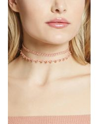 Forever 21 | Pink Chain-link Iridescent Choker Set | Lyst