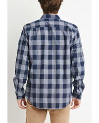 Forever 21 - Blue Chambray-trimmed Gingham Shirt You've Been Added To The Waitlist for Men - Lyst
