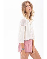Forever 21 - Pink Smocked Chiffon Shorts - Lyst