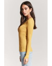 Forever 21 Yellow Snap-button Thermal Henley Top