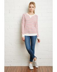 Forever 21 Natural Striped French Terry Sweater