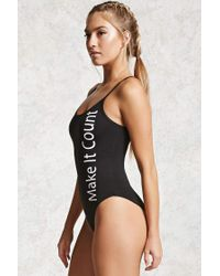 Forever 21 Active Strappy Graphic Bodysuit , Black/white