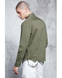 Forever 21 - Green 's Distressed Pocket Shirt for Men - Lyst