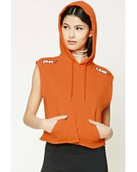 Forever 21 - Orange Fast Lane Graphic Sleeveless Hoodie - Lyst