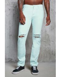 Forever 21 - Blue Slim-fit Distressed Jeans for Men - Lyst