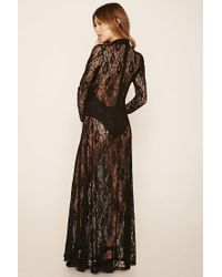 Forever 21 - Black Floral Lace Maxi Dress - Lyst